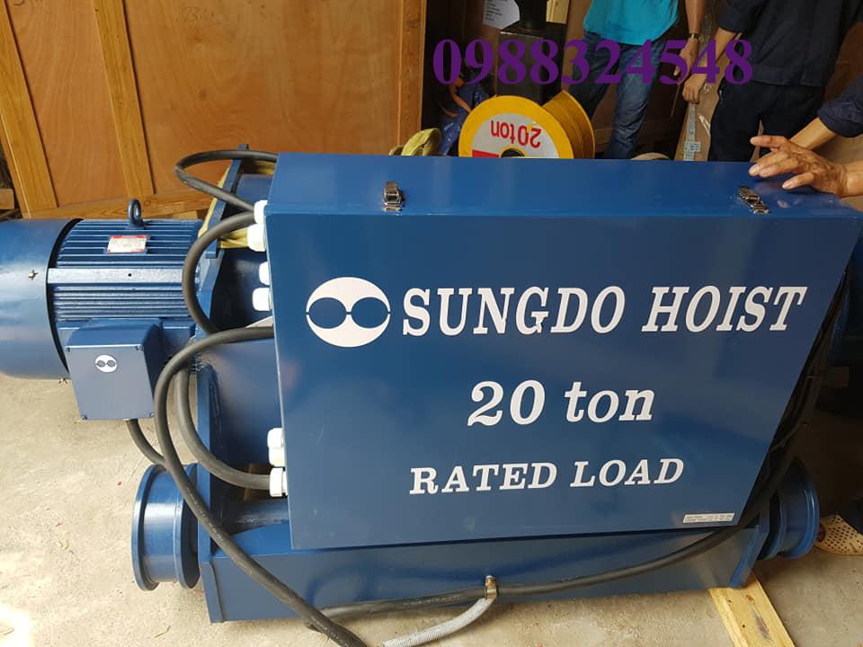 Pa lăng điện cáp Sungdo dầm đôi 20 tấn