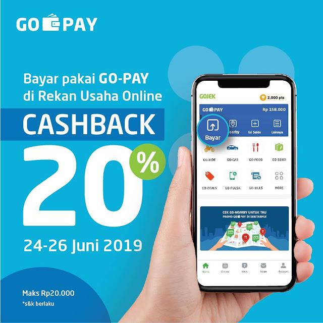 #GOPAY - #Promo Cashback 20% Tiap Bayar GO-PAY di Rekan Usaha Online (s.d 26 Juni 2019)