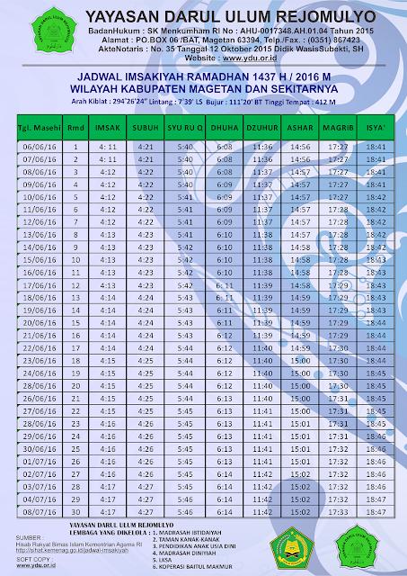 Jadwal Imsakiyah Bulan Ramadhan 1437 H - 2016 Untuk Wilayah Magetan dan Sekitarnya