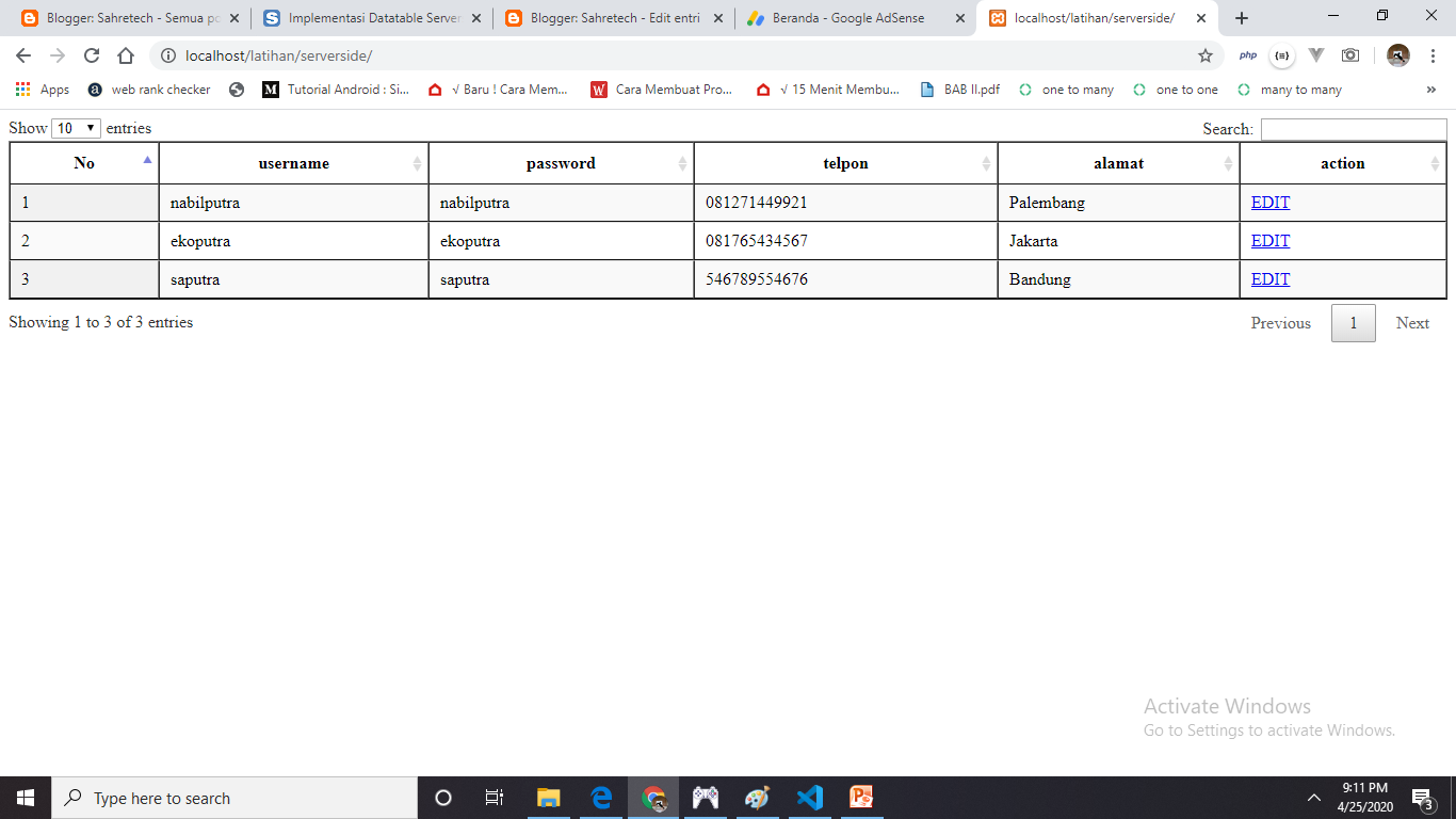 datatable serverside - sahretech