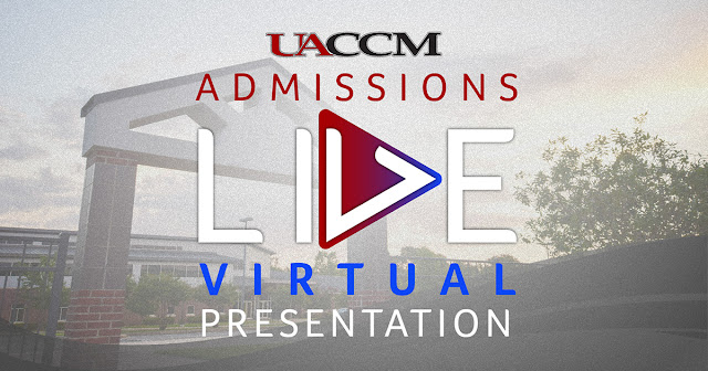 Text reading UACCM Admissions Live Virtual Presentation