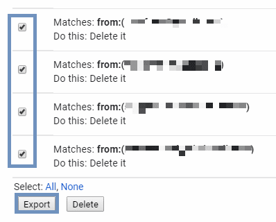 Export filters