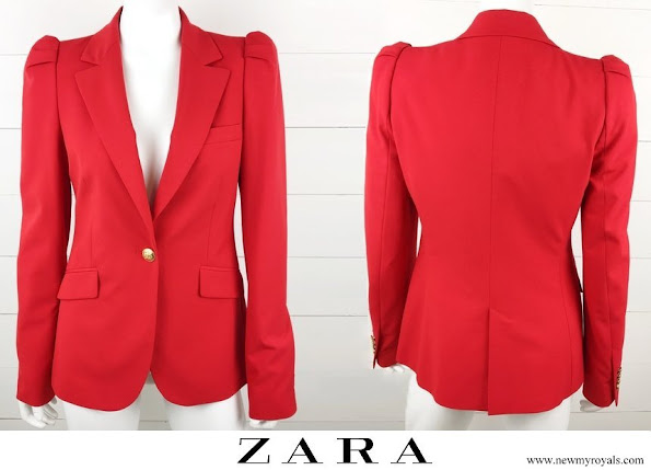 Kate Middleton wore Zara red Blazer Gathered Shoulders