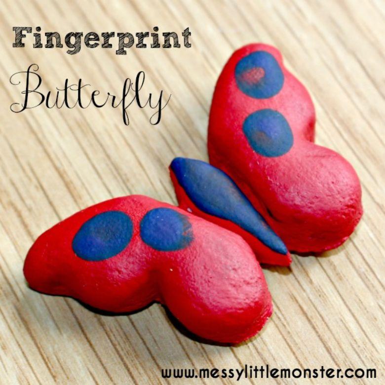 Salt dough ideas - butterfly fingerprint magnet craft