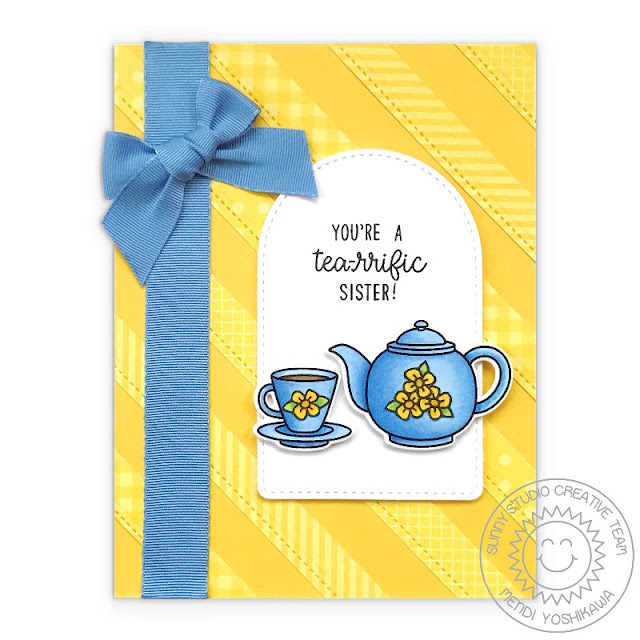 Sunny Studio Blog: Tea-riffic Teapot & Teacup Yellow & Blue Floral Sister Card, using Stitched Arch Dies