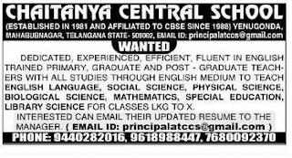 Chaitanya Central School TGT, PGT, PRT Teacher Jobs