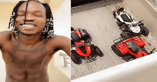 "Naira Marley teases his fans with his abs and bikes, ""do you want all or some?"""