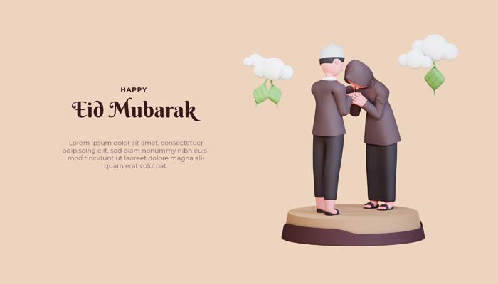 Eid Mubarak Banner Template With 3D Muslim Couple Shaking Hands