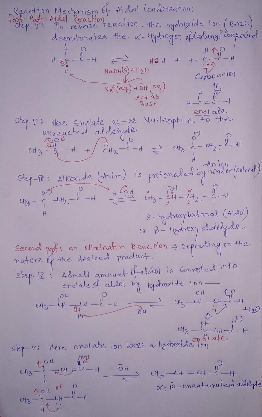 Reaction Mechanism of Aldol Condensation reaction