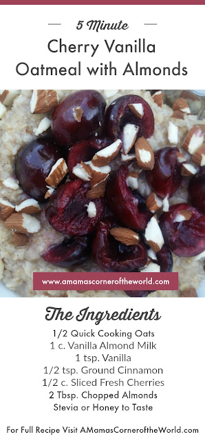 Pinnable recipe card for Cherry Vanilla Oatmeal with Almonds