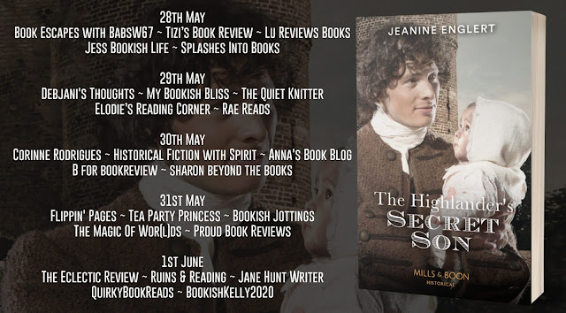 The Highlander's Secret Son by Jeanine Englert blog tour banner