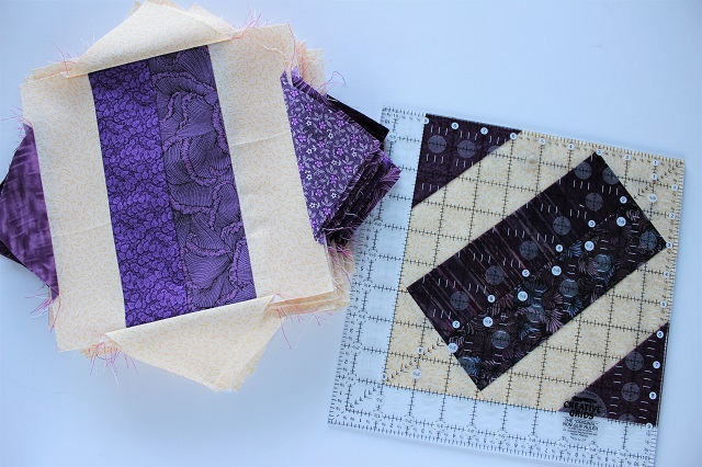 Brick Yard scrappy quilt block corner triangles and trimming