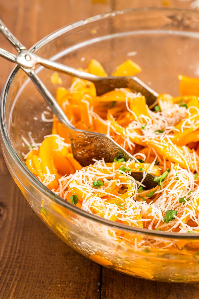 These roasted Butternut Squash Noodles are topped with a nutty browned butter, Parmesan cheese, and a sprinkling of fresh chopped parsley, for a delicious dish that cooks in 10 minutes, or less, and uses very few ingredients.