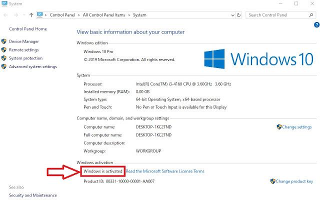 System properties Windows 10
