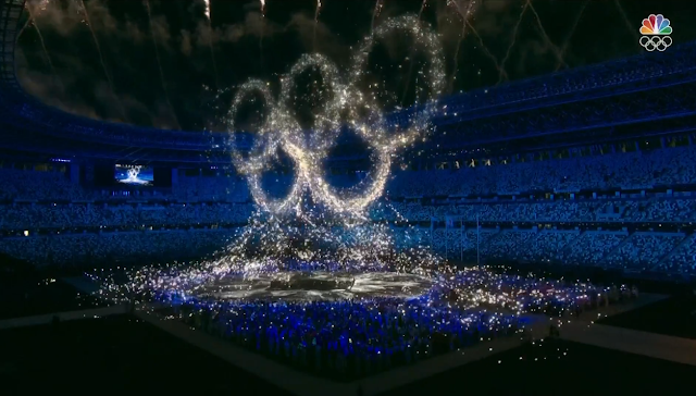 Tokyo 2021 Olympic Games Closing Ceremony light show five rings logo sparkles