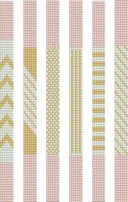 Wzory koralikowych bransoletek na krosno - różowo-złote