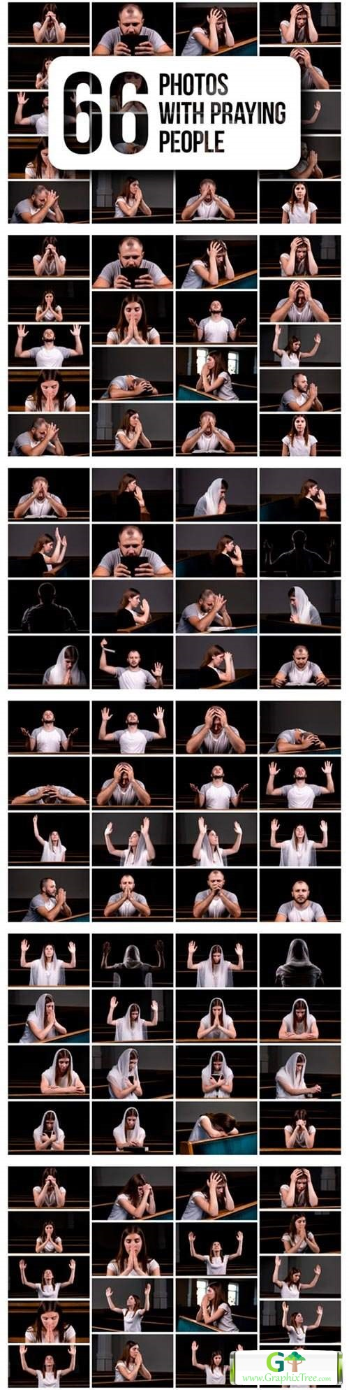 Set of 66 Photos with Praying People [Vector] [Silhouettes And People]
