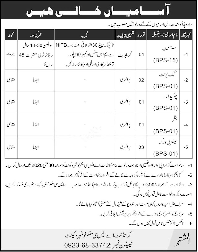 Jobs Available - Army Service Corps Center Army Nowshera 2020 | Latest Jobs