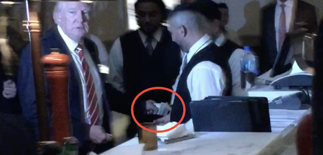 President Donald Trump tipped a BLT Steakhouse busboy one hundred dollars