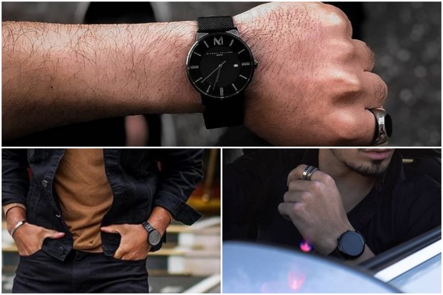 Black dial and black band watch style.