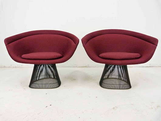 Warren Platner for Knoll Bronze Wide Lounge Chairs