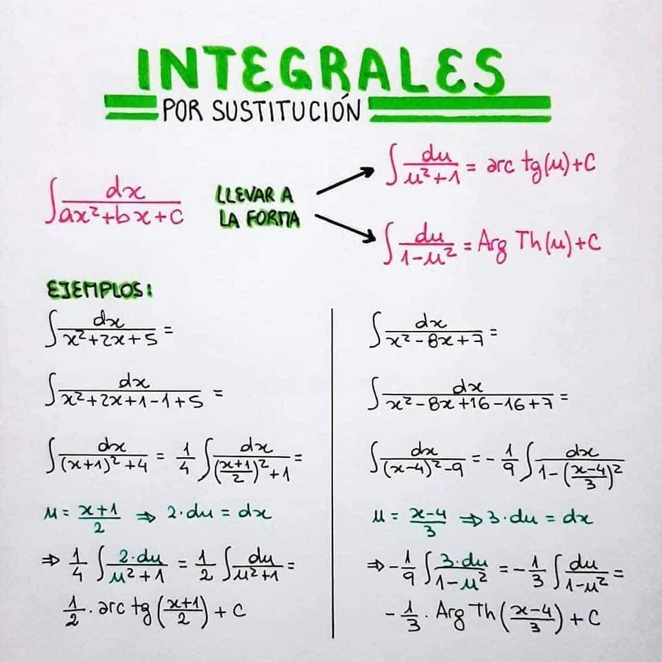 integrales por sustitucion