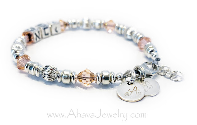 AVI in Hebrew with Peach Swarovski Crystals and 2 Initial Charms