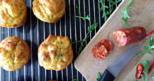 Chorizo and goats cheese muffins