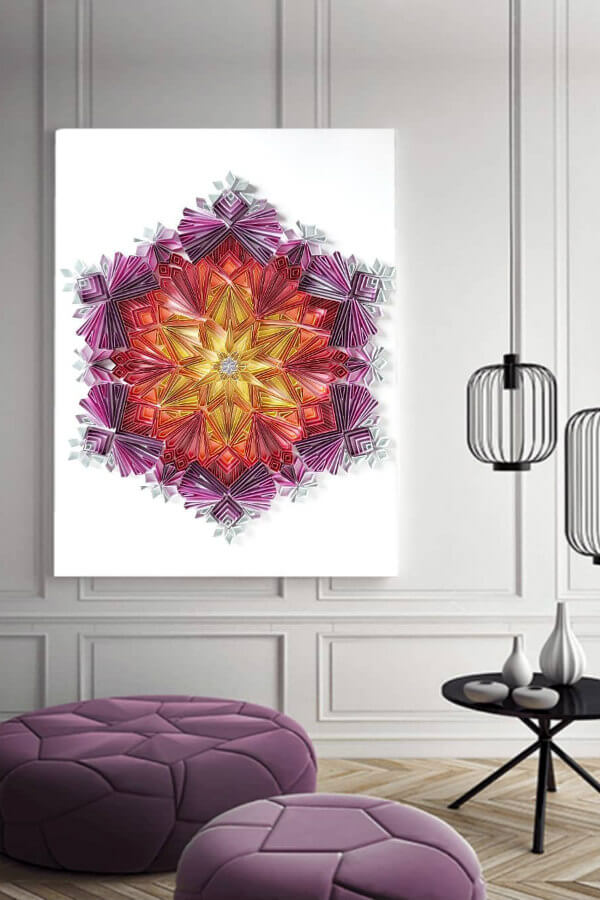 large quilled mandala print on wall