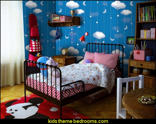 Child room starry night and cloudy nature wallpaper