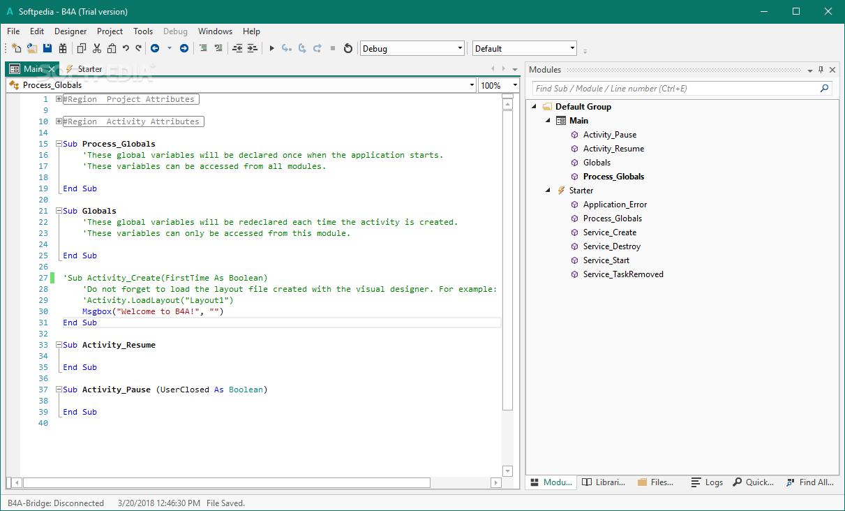 تحيل برنامج ممتاز  لتطوير التطبيقات السريعة لاندرويد Basic4android (B4A) 9.30