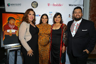 BEVERLY HILLS, CALIFORNIA - FEBRUARY 28: (L-R) Brenda Victoria Castillo, honoree America Ferrera, Linda Yvette Chavez, and Marvin Lemus attend the 23rd Annual NHMC Impact Awards Gala at the Beverly Wilshire Four Seasons Hotel on February 28, 2020 in Beverly Hills, California. (Photo by JC Olivera/Getty Images for National Hispanic Media Coalition )