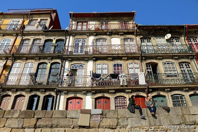 Fachadas del barrio de la Ribeira, Oporto