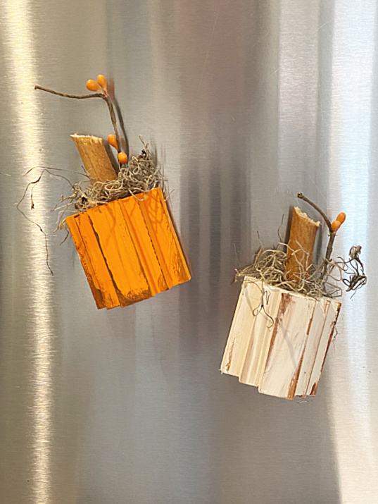refrigerator with pumpkin magnets