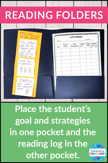 Use the reading folder to help with student accountability for tracking their reading goals.  If they have their folders with them during reading workshop, it will help make conferences run smoother and more intentionally.