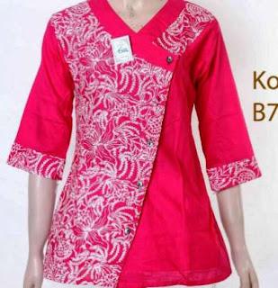 Model baju batik kombinasi polos untuk wanita