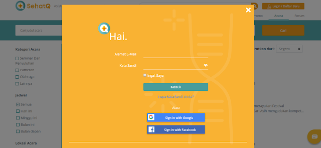 halaman login layanan kesehatan sehatq