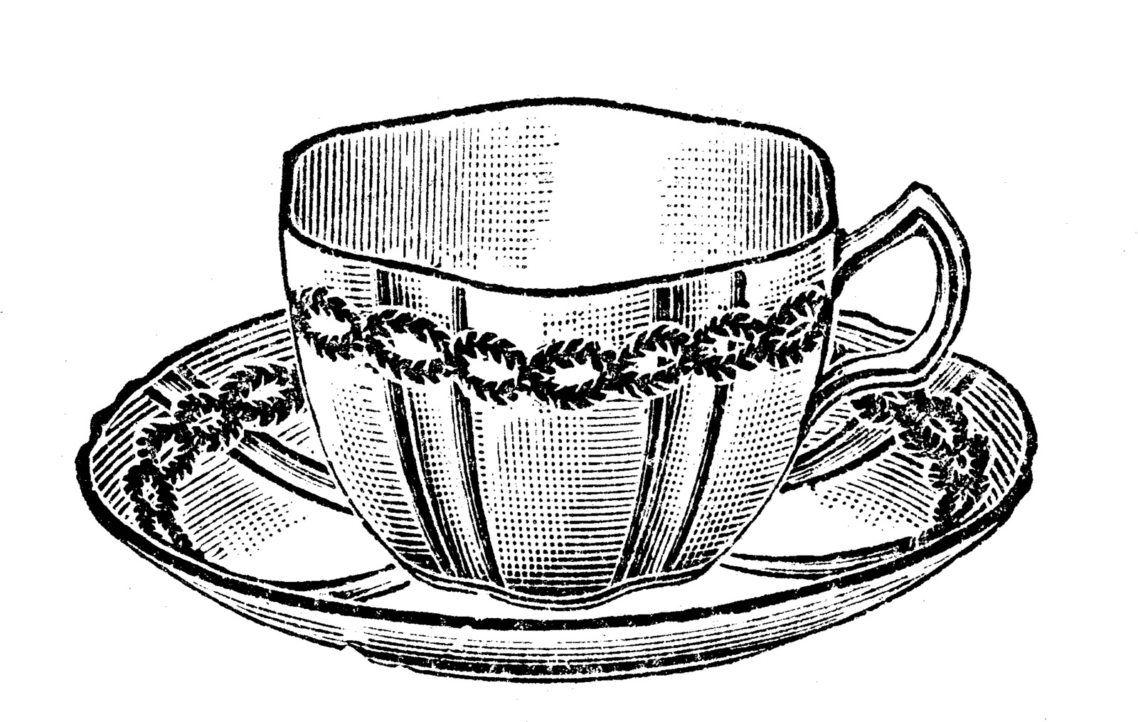 tea cup clipart black and white - photo #46