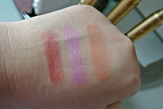 Too Faced Le Creme Colour Drenched Lipstick in Sugar Daddy, Clueless and Topless Swatches