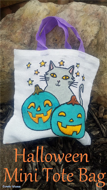 how to embroider a Halloween candy bag