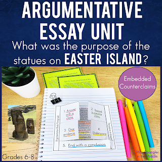 If you teach middle school students to write argumentative essays with embedded counterclaims, then this easy to use unit with texts, foldables, notes and organizers is for you!