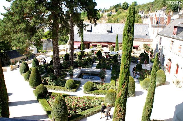 I giardini interni visti dal primo piano del le Clos Lucé di Amboise