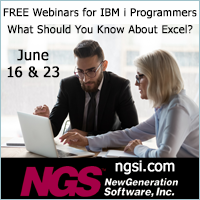 FREE webinars for IBM i programmers. What should you know about Excel? June 16 and 23