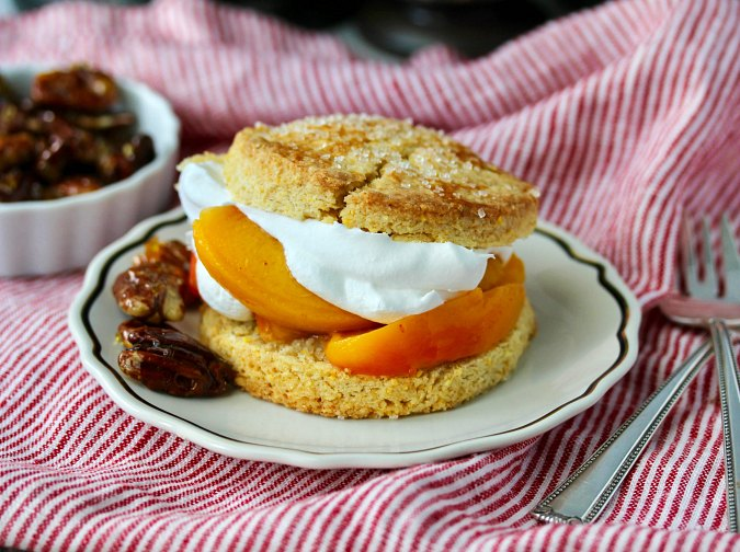 Peach Shortcakes with Candied Pecans and whipped cream