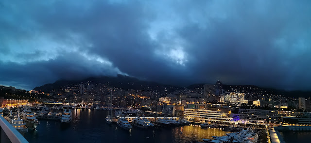 panoramic picture of monaco harbour at night time