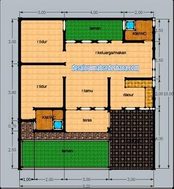 gambar denah rumah luas tanah 200 m2 3