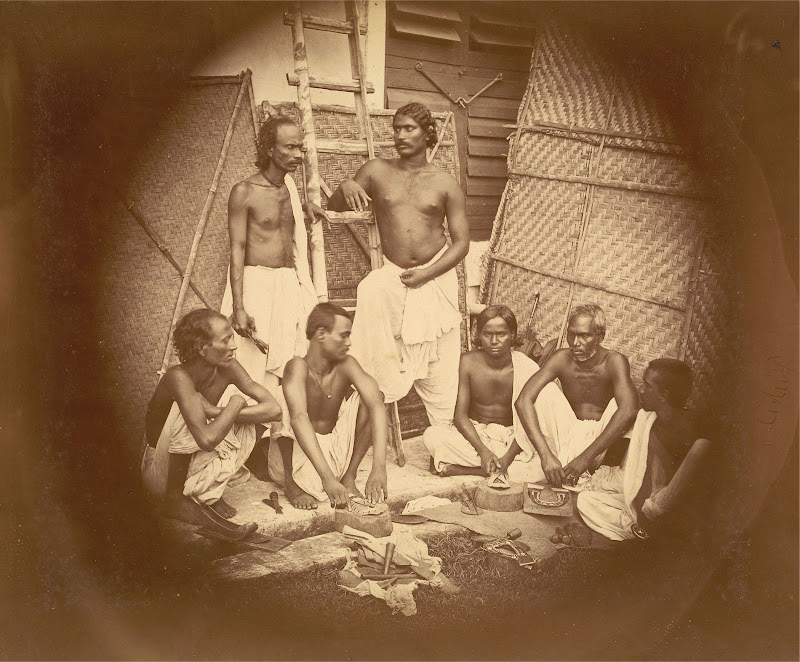 Group of Leatherworkers Posed with the Tools of their Trade - Eastern Bengal c1860
