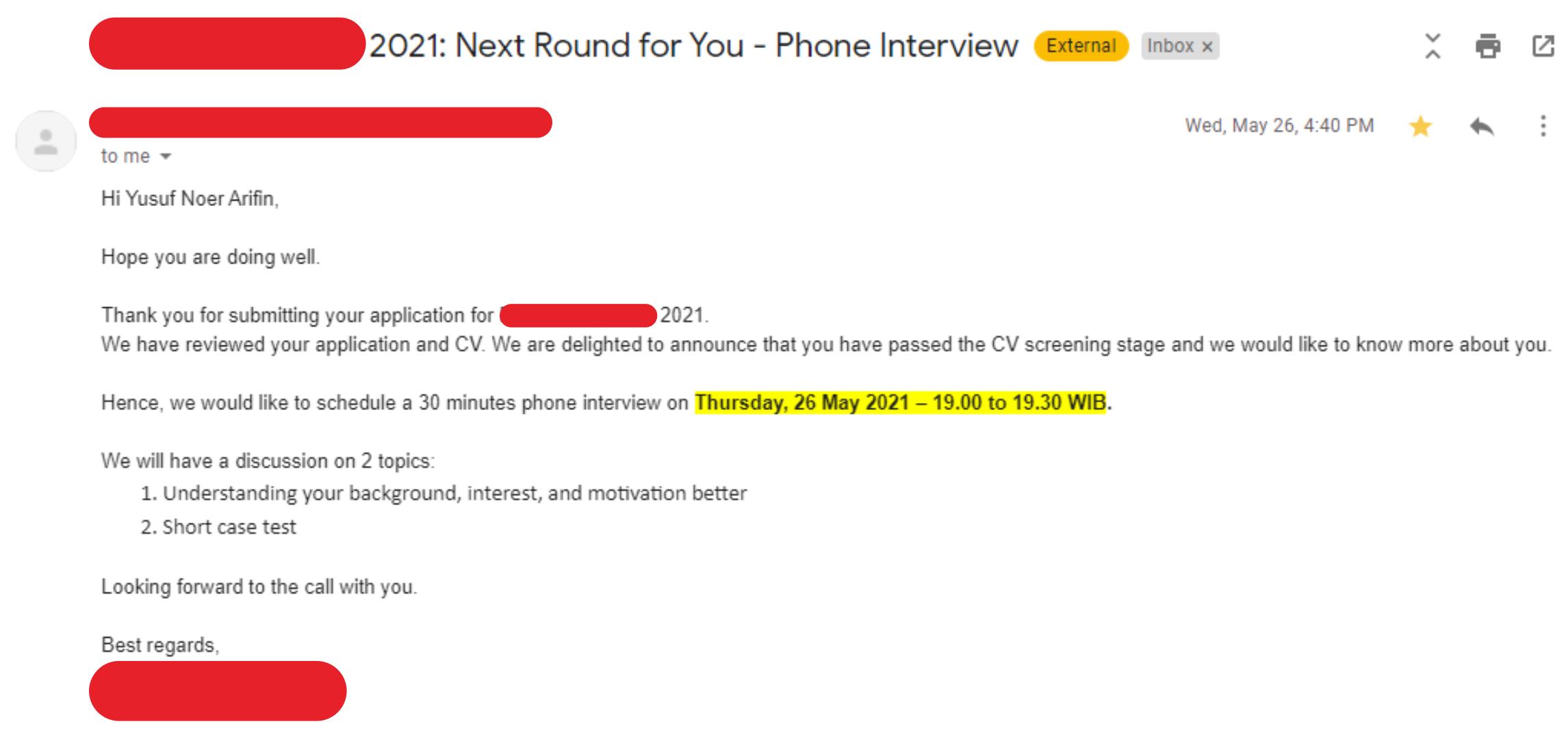 Undangan experience interview dan case interview di salah satu perusahaan MBB (McKinsey, BCG, Bain)
