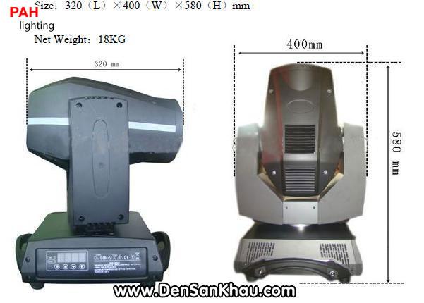 Kích thước và trọng lượng đèn moving head