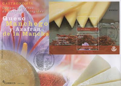 sobre, filatelia, hoja bloque, sello, Denominación de Origen, La Mancha, queso, azafrán